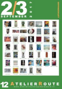 Poster 12e Atelierroute Lopikerwaard 2 en 3 september 2017, te zien zijn 47 kunstwerken van de deelnemende beeldend kunstenaars, waaronder een schilderij van Dinne van der Vlis, op wiens pagina U nu bent, en die met haar open atelier meedoet.